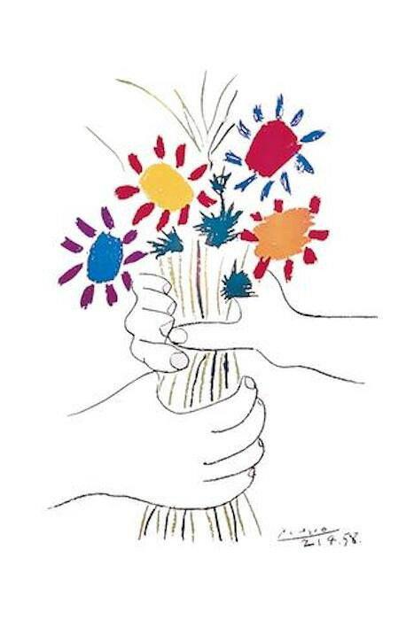 ピカソ 花束を持つ手 ポスター/フレーム付 プチ・フルール