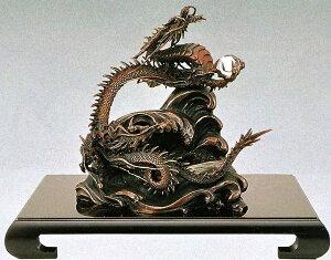 水晶玉付 龍の置物/波に龍 水晶玉・平台付/高岡銅器