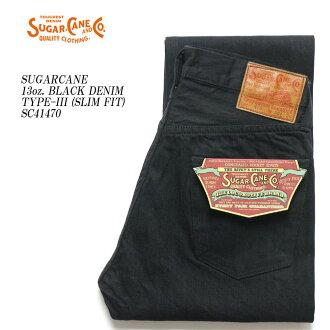 SUGARCANE cane 13 oz. BLACK DENIM TYPE-III (SLIM FIT) SC41470 [new products! ≫