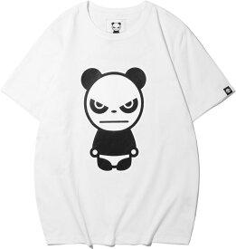 【送料無料】【公式】ハイパンダ メンズ HIPANDA BASIC HIPANDAロゴ プリント Tシャツ オーガニック サステナブル おしゃれ かっこいい 半袖 春 夏 夏物 春物 クルーネック 綿 100% 白Tシャツ カットソー ロゴ 白 黒 大きいサイズ対応 XXL LL XL