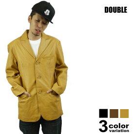 DOUBLE(ダブル)レザーテーラードジャケット(3色)【B系/HIPHOP/無地/JKT/革/ヒップホップ/大きいサイズ/本革/メンズ/ジャケット】【あす楽対応】