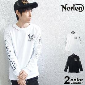 NORTON ノートン Tシャツ 長袖 ロンT ロゴ 刺繍 袖ロゴ メンズ 大きいサイズ ブラック ホワイト バイカー M-2XL [201N1150] 【あす楽対応】 【メール便対応】