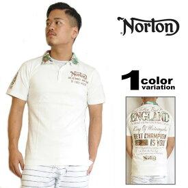 NORTON リゾートポロシャツ ポロシャツ ノートン ポロシャツ ボタニカル柄 半袖 バイカー ファッション メンズ カジュアル 52N1900