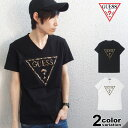 GUESS ゲス Tシャツ 半袖 メンズ レディース LEOPARD EMBOSS TRIANGLE TEE (guess tシャツ エンボス レオパード ティーシャツ T-SHIRTS カットソー