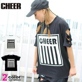 チアー CHEER Tシャツ 半袖 ダメージ加工 プリント BIG TEE CX733110 (cheer tシャツ トップス チアー レッスン着) 【あす楽対応】 【メール便対応】