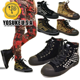 ★ promise arrival report view by special price ★ sneaker studs animal Leopard pattern high cut zippered YOSUKE U.S.A (Yosuke shoes) ladies sneaker leather punk