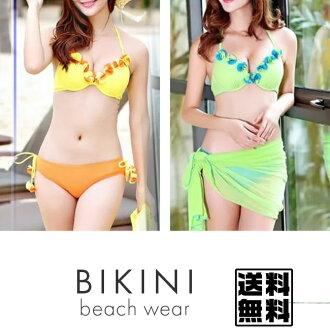 Iloilo can be used with paleo ♪ ★ cheap cute gifts GET ★ bikini one piece beautiful cute ladies swimwear Beach toy lace skirt fashion of UV cut cute sexy 3 piece set