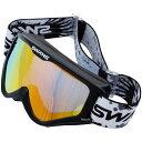【即納】 スワンズ SWANS メガネ対応ダートゴーグル ミラータイプ 黒 (フラッシュオレンジミラー/スモークレンズ) MX-797-M BK HD