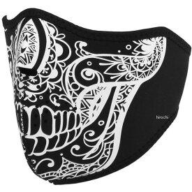 【メーカー在庫あり】 ライズ ハーフフェイスマスク ネオプレン スカル 白 フリーサイズ 4527625099401 HD店