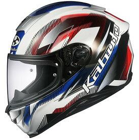 オージーケーカブト OGK KABUTO フルフェイスヘルメット AEROBLADE-5 GO 白青赤 Mサイズ 4966094586973 HD店