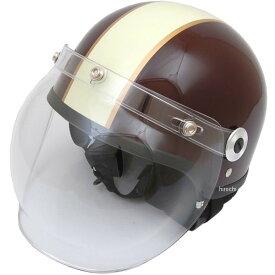 【メーカー在庫あり】 CR-760 リード工業 ヘルメット クロス バブルシールド付 茶/アイボリー フリーサイズ (57cm-60cm) CR-760-BR-IV HD店