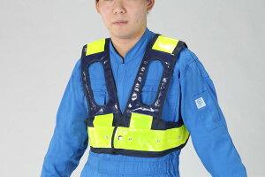 【メーカー在庫あり】 LED安全ベスト(フルハーネス用/紺・黄) EA983R-257 HD店