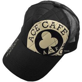 エースカフェロンドン ACE CAFE LONDON ACE CAFE ナイロンメッシュ キャップ ラージロゴ 黒 AC001NM-BK JP店