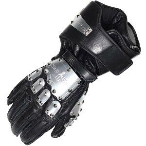 3516 カドヤ KADOYA レザーグローブ ハンマーグローブ ガントレット シルバー/黒 LLサイズ 3516-0/SL/BK/LL JP店