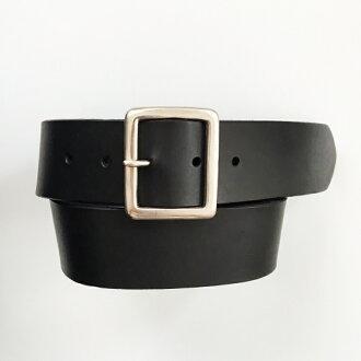 英国制造银子长方形带扣45mm牛仔裤皮带〈黑色〉
