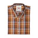 RELCO S/S チェックボタンダウンシャツ〈ブラウン〉