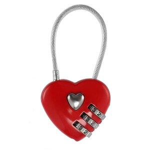 ハート型 ケーブルロック 南京錠 《レッド》 ワイヤーロック かわいい おしゃれ 鍵 ロック[定形外郵便、送料無料、代引不可]