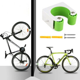 壁 自転車 ディスプレイスタンド 《マウンテンバイク用》 《グリーン》 壁掛け ラック[定形外郵便、送料無料、代引不可]