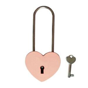 ハートキー ハート型 南京錠 吊長タイプ 《ピンク》 ハート形 かわいい おしゃれ 鍵 ロック [定形外郵便、送料無料、代引不可]