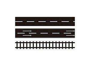 ミニカー 道路テープ 3種セット 5m巻 ミニカー遊び 道路 線路 シール ステッカー マスキングテープ[子供][玩具][定形外郵便、送料無料、代引不可]