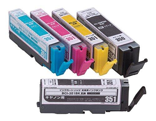 Color Creation キャノン BCI-350351互換 インクカートリッジ 5色パック CF-C351XL/5P [プリンター][消耗品][ゆうパケット発送、送料無料、代引不可]
