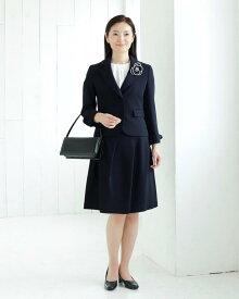 高品質 完全日本製 強撚 二重織 新ダブルウール 2つボタンテーラードジャケット スパイラルタックスカート スーツ 紺 お受験 スーツ 面接 入学式 卒業式 ウール100% スカートスーツ キャリア スーツ