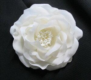 シルク コサージュ ローズ 白 日本製 シルク100% 日本製 入学式 卒業式 結婚式 高級素材 職人手作り