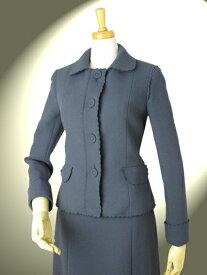 ウール100% スカートスーツ 高品質 完全日本製 二重織 ダブルジョーゼット スカラップ刺繍 ショールカラー ジャケット スカートスーツ ロイヤルメード グレー 入学式 卒業式 スーツ 七五三 ママ スーツ
