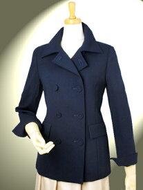高品質 完全日本製 二重織 新ダブルウール ダブルフロント ジャケットコート【カラー 紺】ショートコート 入学式 卒業式 ビジネス ミセス