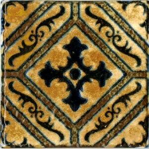 アンティーク 150角 タイル デザインタイル マジョリカタイル 洋風 モロッコ風 DIY キッチン インテリア 雑貨 クラフト NWIT-615