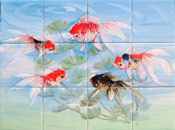 絵タイル 金魚 12枚組-A