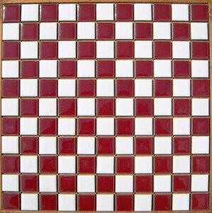 25ミリ角 白×マロン 市松貼り昔からのタイル