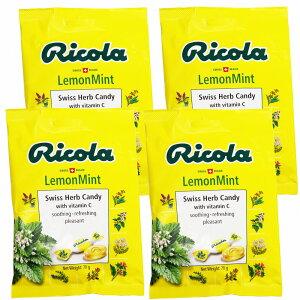 送料込み リコラ レモンミント ハーブ キャンディー 1袋70g 4袋セット スイスハーブキャンディー のど飴 合成香料着色不使用