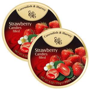 送料無料 カベンディッシュ&ハーベイ ストロベリー 175g2缶セット ストロベリーの甘酸っぱい香りが口いっぱい広がる ドイツ キャンディー 海外の美味しい飴
