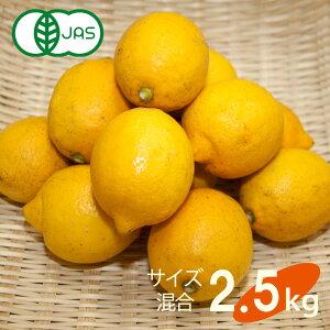送料無料 有機 JAS認定 無農薬 広島県 大長産 レモン 2.5kg サイズふぞろい 農園直送 大崎下島 下田農園 国産 皮まで食べられます オーガニック 有機栽培