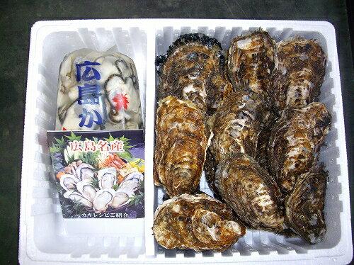 産地直送 広島県産 生牡蠣(かき) (むき身1kg+殻付き約10個セット) アミスイ