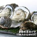 送料無料 島根県産 隠岐の島 隠岐の岩牡蠣 いわがき 10枚入り (Lサイズ 1個300〜349g) ナイフ、軍手、レシピ付き 牡蠣…