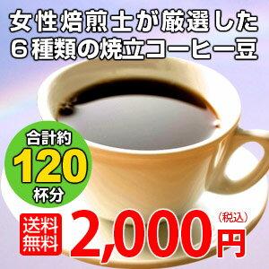 ブレンド&ストレート福袋専門店のコーヒー6種類!合計1.2kg(約120杯分)が2,000円ポッキリ!送料無料!★2セット以上のご購入で「カフェブレンド70g」プレゼント!(同一住所・同一発送日に限ります)