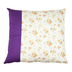 【メール便選択で送料無料】リリー座布団カバー55x59cm 紫と花柄の優雅な組み合わせの座布団カバー ファスナーが隠れる構造 エレガント パープル きれいめ