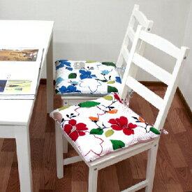 【北欧柄フラワーストライプシート】北欧柄の洗える綿入りシート側サイズ 45×45cm シートクッション ストライプ フラワー ひも付き 椅子 いす用 クッション 角 シート ひも付き ダイニング 椅子用