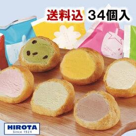 シューアイス スイーツ アイス 詰め合わせ 34個入 10種類 洋菓子のヒロタ HIROTA アイスクリーム おやつ デザート バニラ チョコレート 苺 抹茶 ラムレーズン クッキー&クリーム カスタード ヨーグルト レモン 送料込