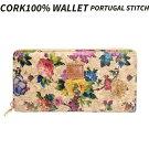 天然コルク長財布(花)ポルトガル産ポルトガル刺繍柄