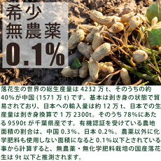 殻付き落花生3袋×210g千葉県産・無農薬・無化学肥料栽培無洗浄・無漂白・放射性物質検査済