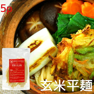 玄米麺 平麺 5袋 無農薬コシヒカリ玄米で作った お米の麺 半生パスタ【グルテンフリー パスタ アレルギー対応食品】