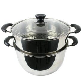 IH対応 2段 セイロ 蒸し器 26cm ガラス鍋蓋付 ステンレス_FH80139