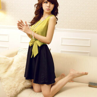 Cute party dress dress dress yellow blue ribbon wedding