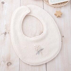 (お花の刺繍)おでかけ用スタイの手作りキット【出産祝い 自然素材で作るよだれかけの手芸パック 赤ちゃん用エプロン ママdiy】