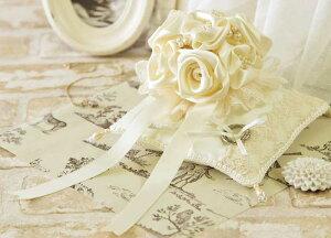 【リングピロー手作りキット】ローズのブーケがついたプレミアムなリングピロー(シャンパンゴールド)【結婚式リングピロー手芸キット】