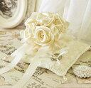 【リングピロー完成品】ローズのブーケがついたプレミアムなリングピロー(シャンパンゴールド)【結婚式 結婚祝い】【あす楽対応】