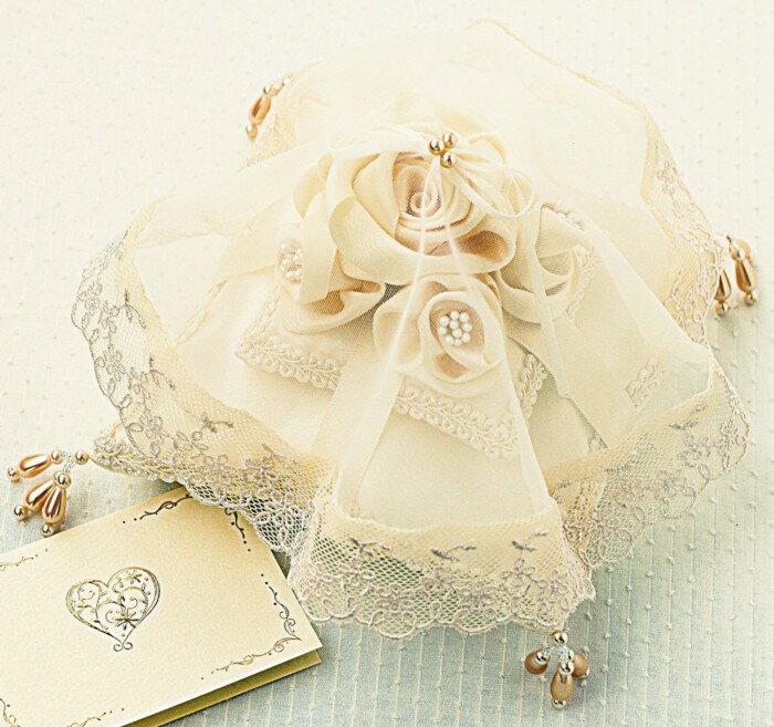 【リングピロー手作りキット】ローズのベール付きリングピロー(シャンパンゴールド)【あす楽】【結婚式 結婚祝い】